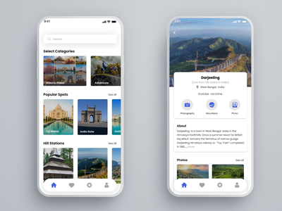 Popular places in India Tourist guide app ux design android app design ui design application ui mobile ui uxdesign uxui ui ux