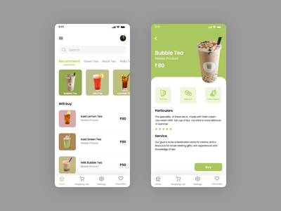 Online Tea Shop uxui ios ui design design android app design ux ui application ui ux design online tea shop
