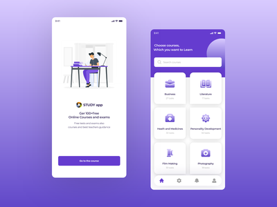 Online Study App Screens study app ui design uxui ios ui ux mobile ui application ui ux design