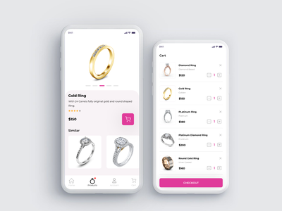 Lady FInger Rings App Screens ios design android app design application ui ui ux uxui mobile ui ux design ui design