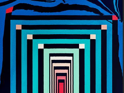 Path Waves yoga flow path maze blocks design abstract gradient colors hallway pattern