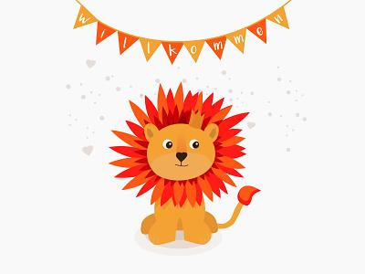 Illustration / Carddesign birth birthday card card design design creative vector ui lion card illustration