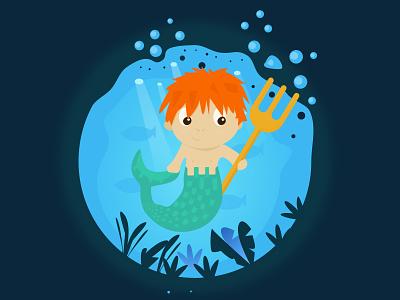 Aquarius merman mermaid water design creative illustration astrology zodiac aquarius