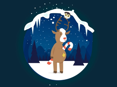Rudolph ui design creative illustration christmas card christmas xmas deers render rudolph rudolf