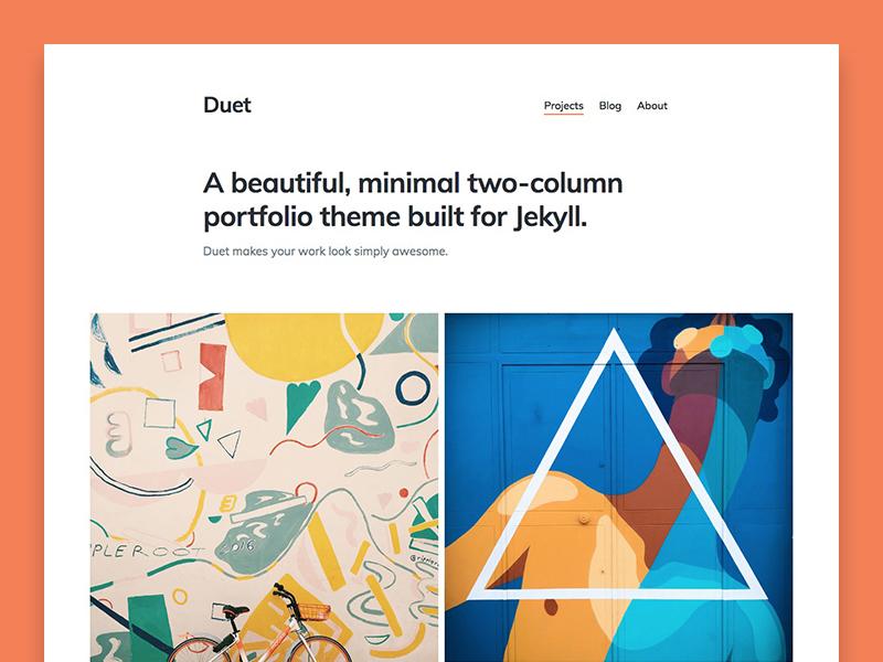Duet – portfolio Jekyll theme web design website static portfolio blog themes jekyllrb jekyll