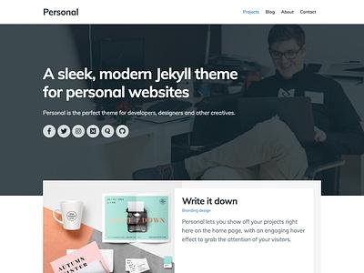 Personal Jekyll Theme personal blog portfolio static site web design website personal theme jekyll