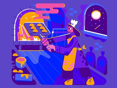 Baking by moonlight illustration