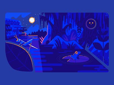 sleepy swamp illustration