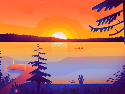 Loon Lake texture design illustration