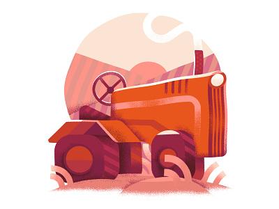 warped tractor illustration