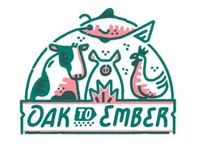 Oak To Ember typeface handrawn illustration branding