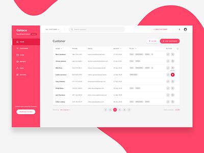 Getaco CRM - Customer list web ux user ui table list interface dashboard crm contacts app
