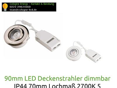 90mm LED Deckenstrahler dimmbar IP44 70mm Lochmaß 2700K 5 Jahre led deckenstrahler dimmbar