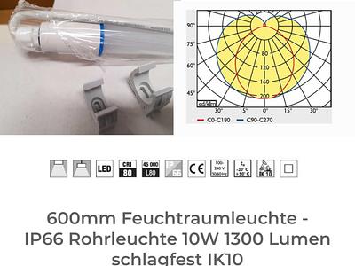 600mm Feuchtraumleuchte - IP66 Rohrleuchte 10W 1300 Lumen schlag feuchtraumleuchte