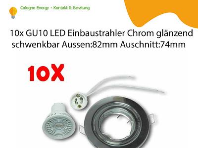10x GU10 LED Einbaustrahler Chrom glänzend schwenkbar Aussen:82m
