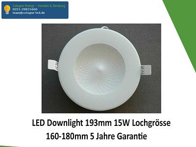 LED Downlight 193mm 15W Lochgrösse 160-180mm 5 Jahre Garantie