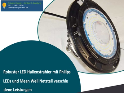 Robuster LED Hallenstrahler mit Philips LEDs und Mean Well Netzt