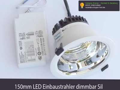 150mm LED Einbaustrahler dimmbar Silber einstellbar auf 3000K -4