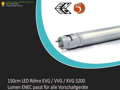 150cm LED Röhre EVG / VVG / KVG 3200 Lumen ENEC passt für alle V