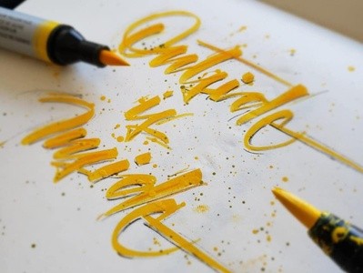 Inside Outside brush pen typography design brushpen brush lettering calligraphy lettering letters