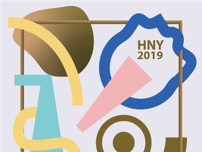 2019_Happy New Year lettering type typography flat design vector 2019 happynewyear illustration