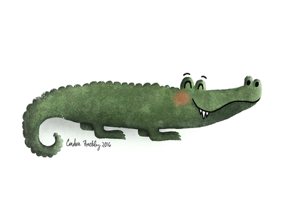 A is for Alligator swamp everglades digital painting illustration alligator