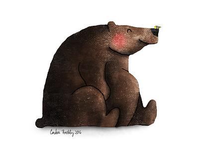 B is for Bear illustration painting digital honeybee bee honey forest brown bear bear