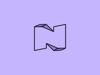 Nemi personal logo purple flat 3d logo twitch logo n logo personal twitch modern n letter letter n monogram nemi