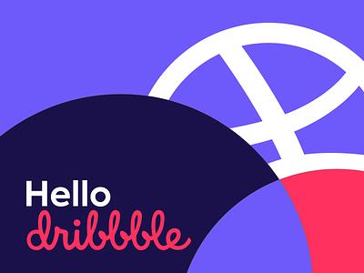 Hello Dribbblers! flat minimal vector design illustration dribbble pruple thanks shot invite hello hellodribbble