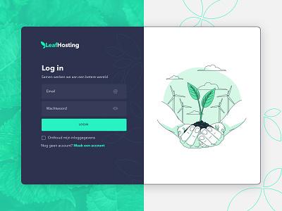 Log in form LeafHosting hosting company hosting service ui design illustration leaves green login form login ux vector ui design
