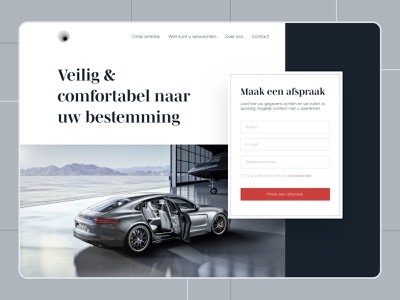 Luxury Taxi Company Concept Website booking taxi booking app taxi driver concept website webdesign static serif luxury red form porsche taxi car ux ui minimal branding vector design
