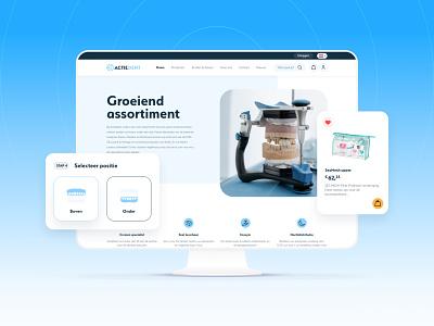 Actiedent Website Redesign grow imac ui design vector icon branding ui ux design webshop clean blue products product teeth dentist dental