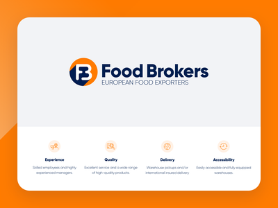 Redesign logo Food Brokers logo design export food broker colourful minimal logo redesign logo blue orange food branding vector design