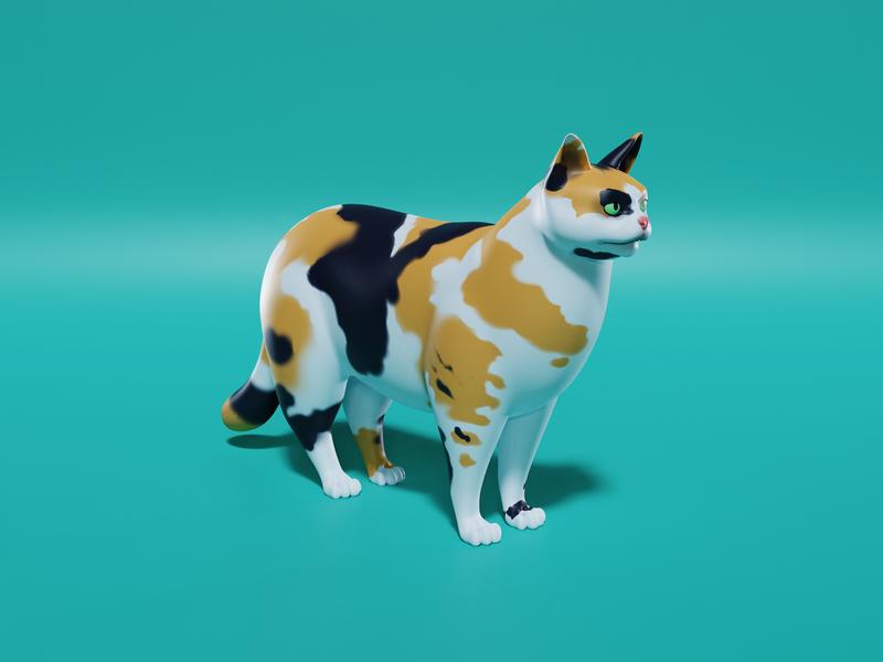 Cat Model low poly lowpoly calico cat character blender3d cartoon video game game blender 3d art 3d