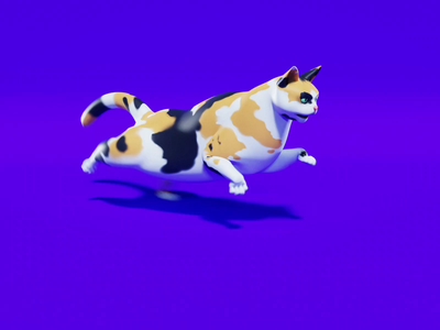 Running Cat runcycle calico cat videogame lowpoly low poly blender 3d blender3d blender 3d model 3d art animated cartoon 3d animation game video game