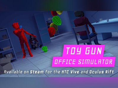"""""""Toy Gun Office Simulator"""" Title Card madewithunity steam vr virtualreality lowpoly design game application video game"""