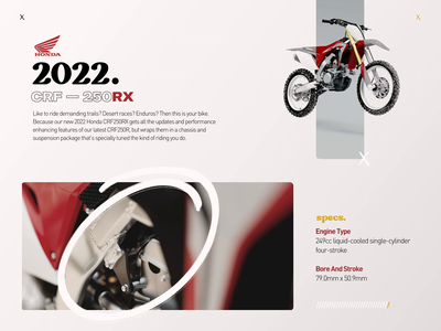 2022 – CRF250RX. illustration design motion cinema 4d motion design branding logo motion graphics graphic design 3d animation ui
