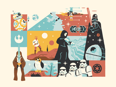A Selection of Stars vector collage obi wan leia bb8 porg star war space x wing lightsaber skywalker darth vader star wars