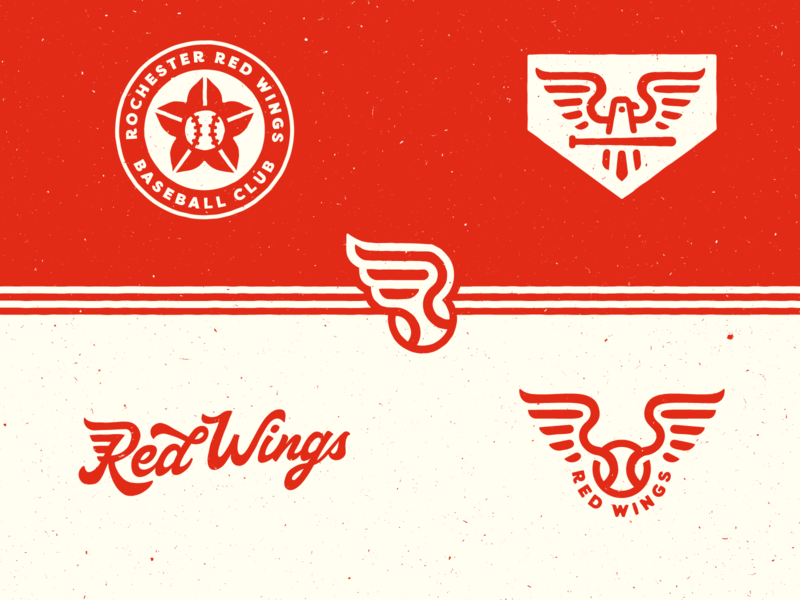 Rochester Red Wings concept uniform logo wing bird logo baseball minor league mlb rochester red wings retro vintage sports
