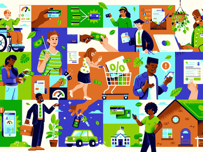 Good Credit vector texture support collage leaves people bank money card credit