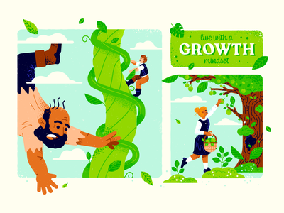 Growth Mindset illustration spot fairytale jack beanstalk tree leaves green vector texture mindset growth