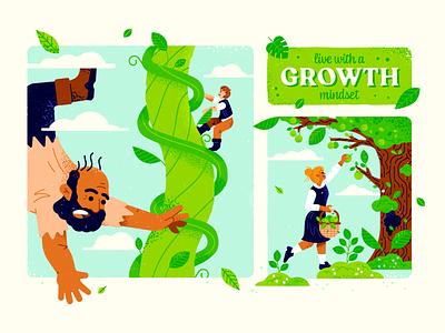 Growth Mindset illustration spot fairytale jack beanstalk tree leaves green vector texture mindset growth