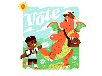 Democracy Dragonite mail democracy vote pokeball vector texture frame cute pokemon pocket monster dragon dragonite