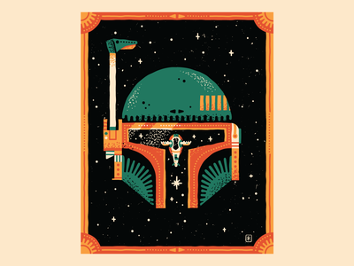 Bounty Hunter mandalorian space ship retro texture vector stars star wars boba boba fett