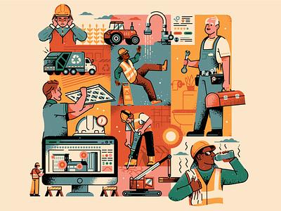 Men at Work collage grid building worker work blue collar construction maintenance jobs illustration texture vector