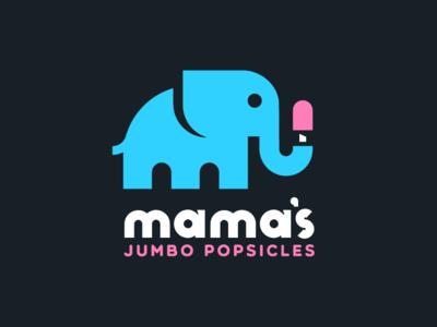 Mama's Jumbo Pops simple logo animal ice cream popsicle animal logo logo elephant