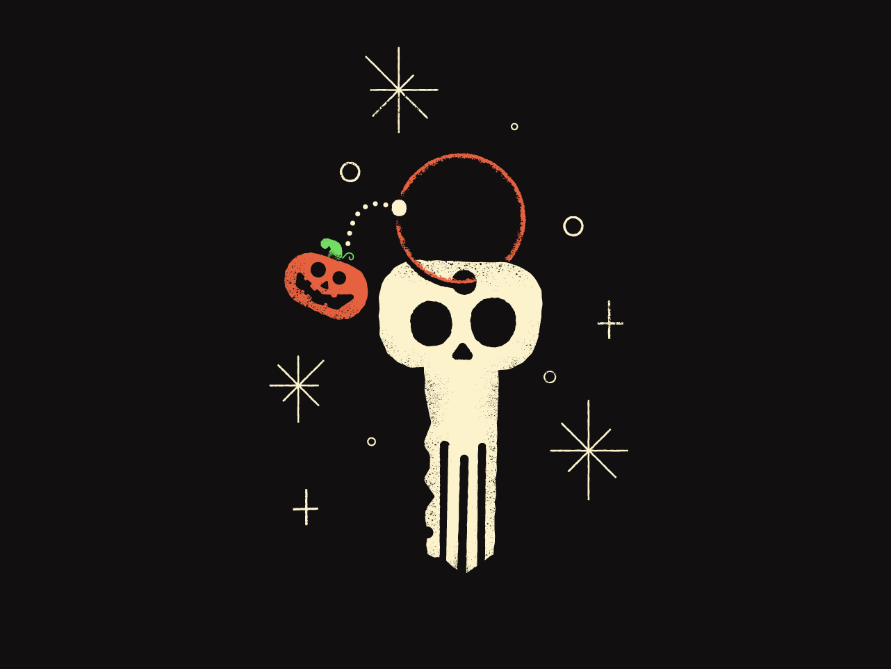 Skeleton Key keychain jackolantern pumpkin skeleton halloween key skull