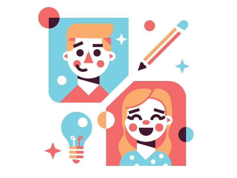 The Team shapes geometric girl boy light bulb pencil icon illustration vector character