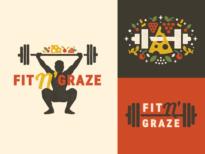 Fit N' Graze Branding logo branding barbell weights work out lifting cheese wine food health fitness