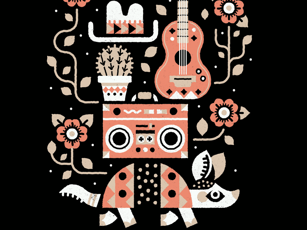 Keep Austin Funky texas music grackle flowers cowboy pattern southwest cactus guitar boombox armadillo austin